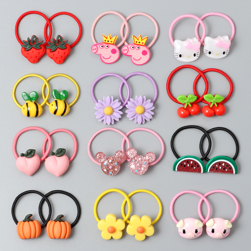 2PCS Baby Hair Ring Cartoon Fruit Flower Hair Bands Small Head Rope Elastic Hair Band Acrylic Children Hair Accessories Headwear
