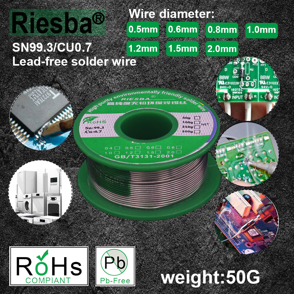 1Pcs 50g 1.1LB Lead Free Solder Wire Sn99.3 Cu0.7 Rosin Core For Electrical Solder RoHs Rosin Core Solder  Tin