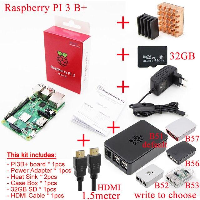 2018 novo original raspberry pi 3 modelo b +, mais placa + dissipador de calor + adaptador de energia ca suply.1gb lpddr2 quad core wifi & bluetooth