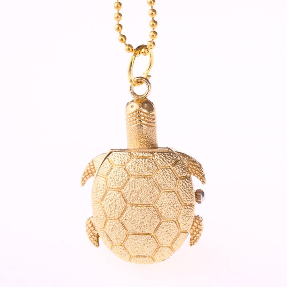 Turtle Shape Unisex Antique Case Vintage Brass Rib Chain Quartz Pocket Watch  Watch Clock Wholesale Relogio De Bolso #4O04