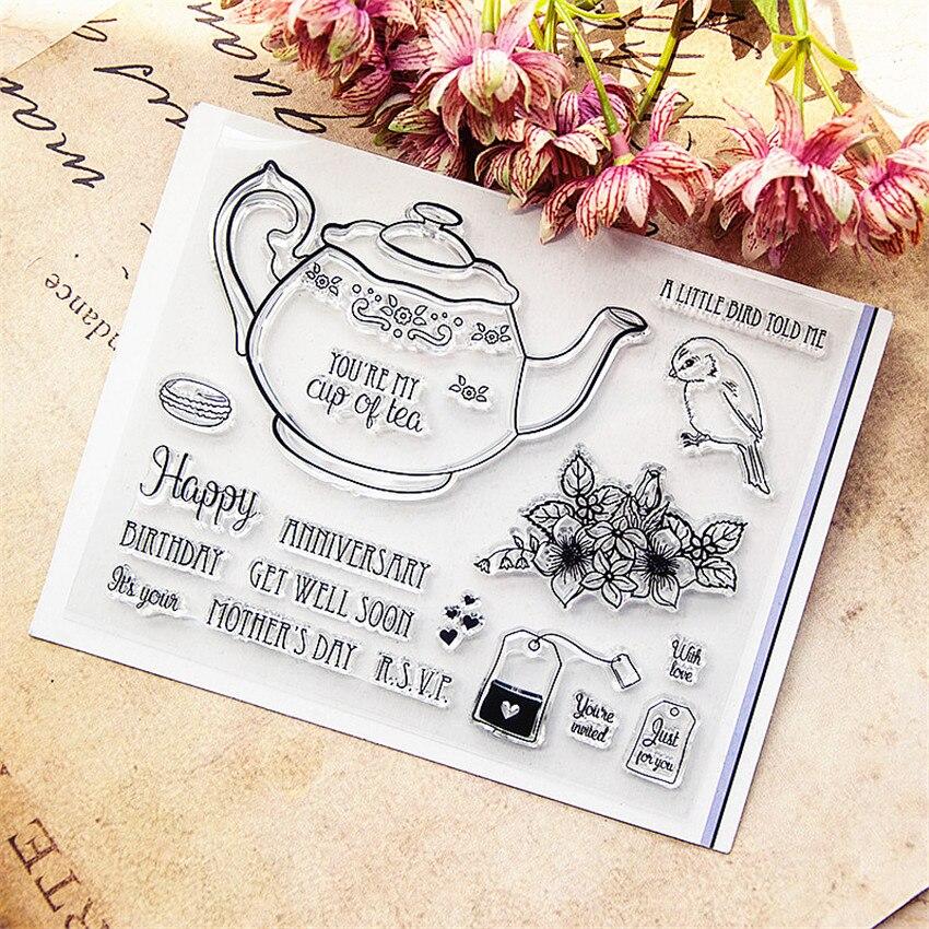 Горячий продавать чайник прозрачный штамп/силиконовый валик для запечатывания штамп DIY альбом скрапбукинга/карточная продукция