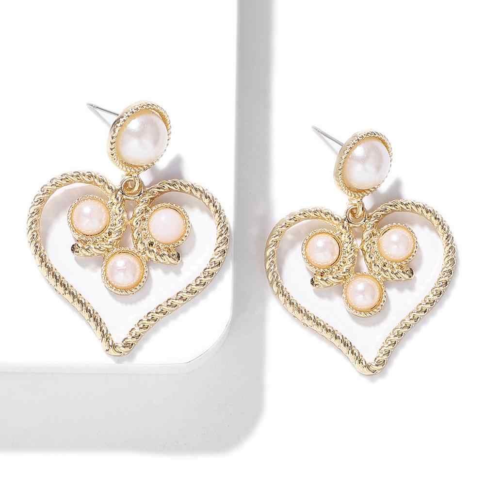 Dvacaman 2019 New Arrival Design Heart Drop Earrings for Women Girls Vintage Black White Pearl Dangle Earrings Fashion Jewelry
