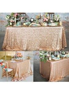 Table-Cloth Glitter Sequin Rectangular Home-Decor Wedding Rose-Gold/silver Party
