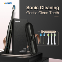 Vsmile Sonic Electric Toothbrush with stylish gift box 2 kinds of 6 brush heads 2200mAh Battery 80 Days on One Charge