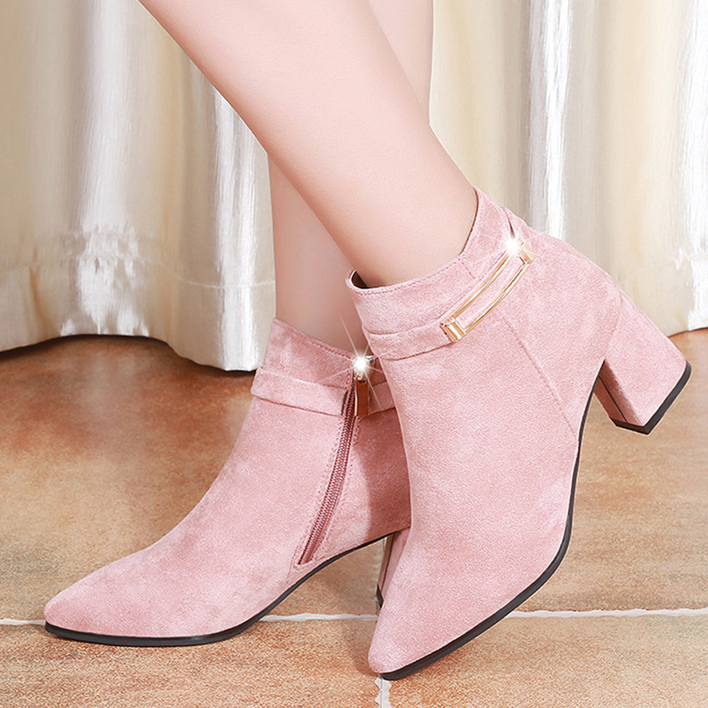 Ankle Boots Women High Heel Fashion Platform Side Zipper For Winter Short Shoes