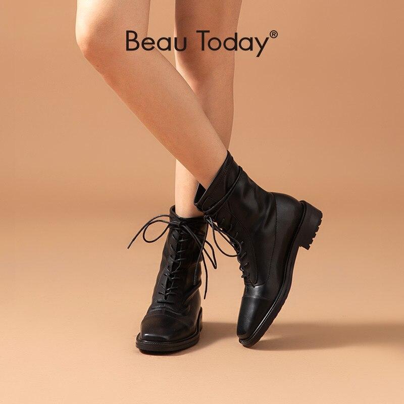 BeauToday/женские ботильоны из натуральной коровьей кожи с квадратным носком на шнуровке; Женская обувь черного цвета; Модная Осенняя обувь на низком каблуке ручной работы; 03685|Полусапожки|   | АлиЭкспресс