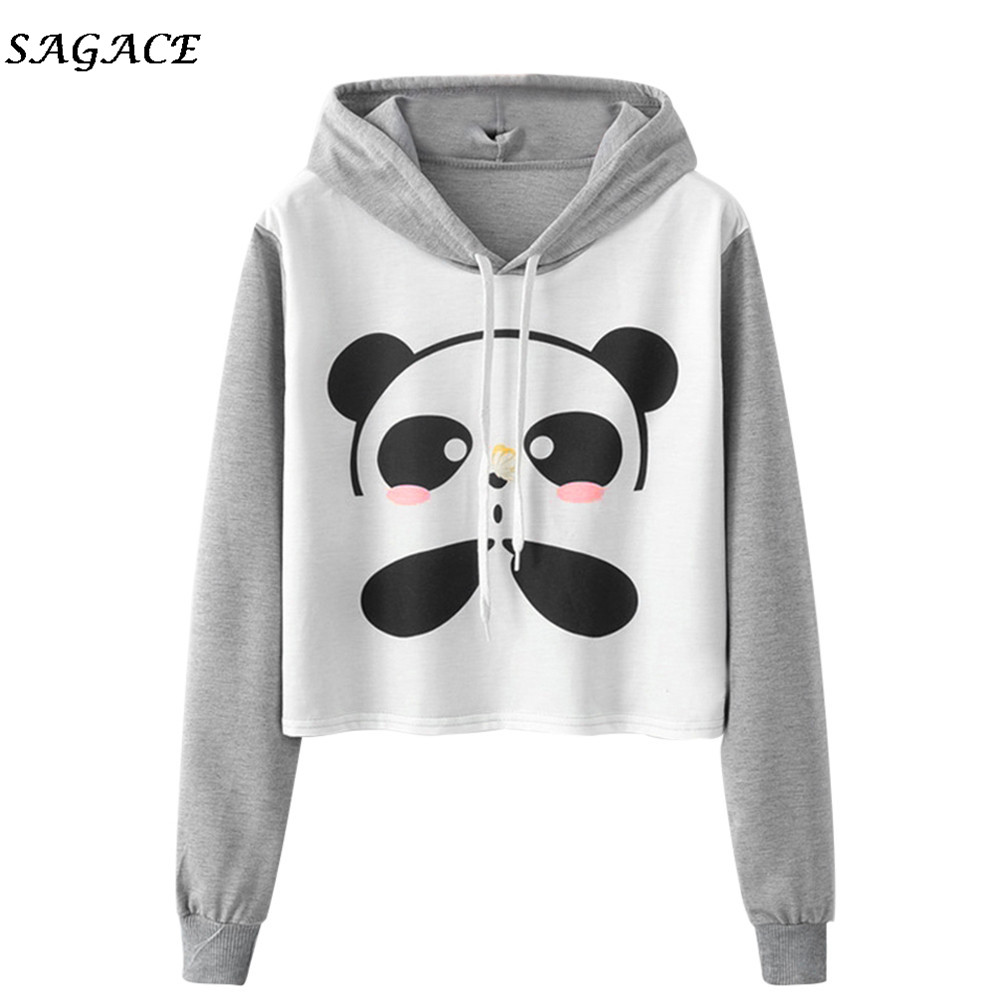 Sagace Clothes Women Hoodie Sweatshirt Ladies Spring Autumn Long Sleeve Cartoon Panda Printing Caps Sweatshirt Girl Blouse Tops