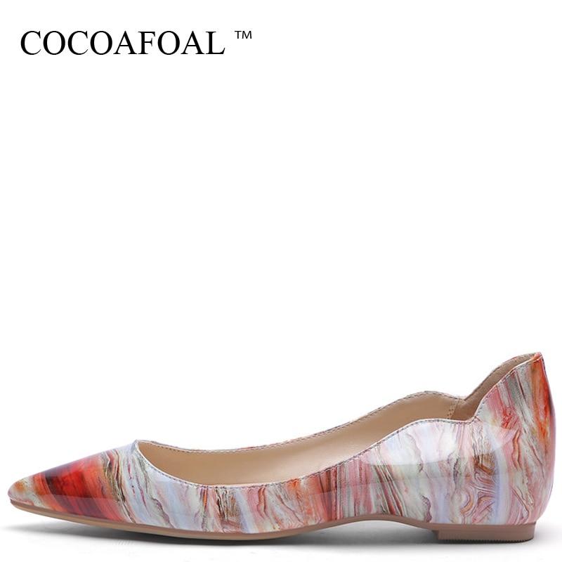 COCOAFOAL Streep Women Platform Shoes Be Teen Flats Fashion Lent Brain Deep Platform Ballet Shoes Plus Size 43 44 45