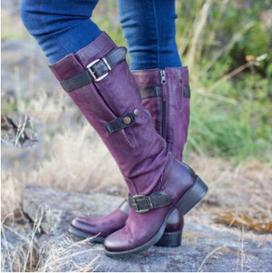 Boots Leather Women New Knee High Boots Low Heels Slim Long Boots Black Brown Lady Winter Warm Motorcycle Boots High Quality