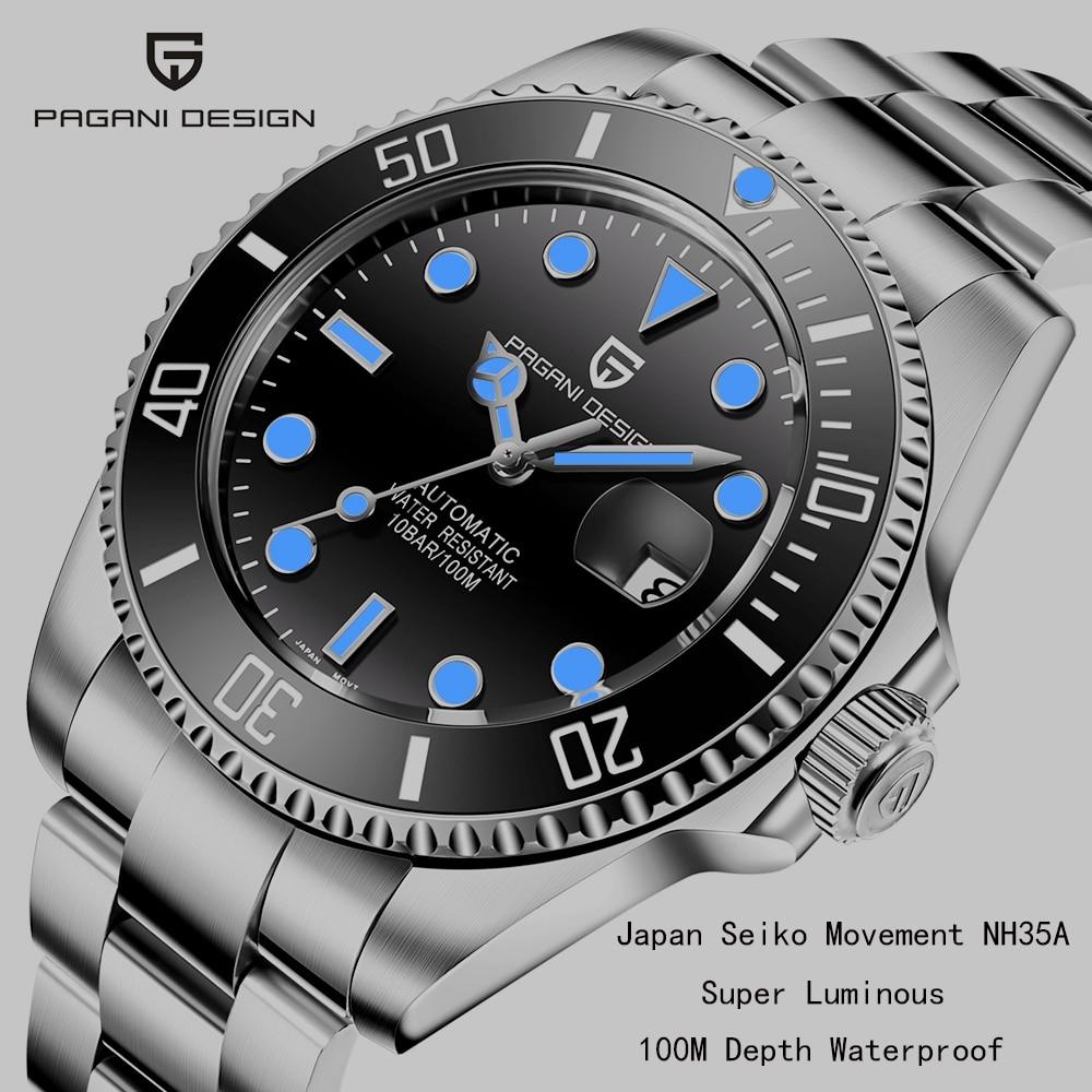 PAGANI DESIGN Brand Automatic Mechanical Men Watch Sports 100M Waterproof Sapphire Wrist Watch Luminous Relogio Masculino 2020