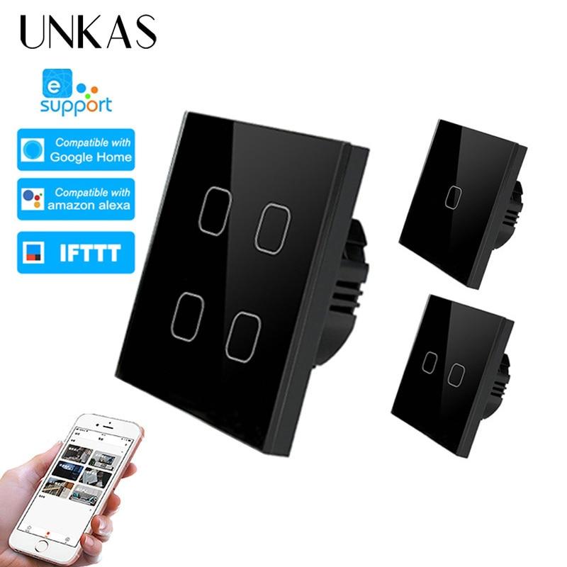 UNKAS ewelink Smart Home 1/2/4 Gang 1 way Wireless WiFi EU Standard Touch Switch Wall Light Switch,Luxury Crystal Glass