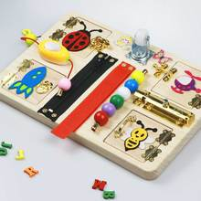 EDUBUSYIU  Baby busy board montessori toy for kids  toddler diy wood toy elements parts Busy Board Toys Kids Early Education