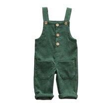 Новинка; брендовые Детские комбинезоны для маленьких мальчиков; детские брюки на подтяжках; повседневные вельветовые детские комбинезоны с карманами и пуговицами;
