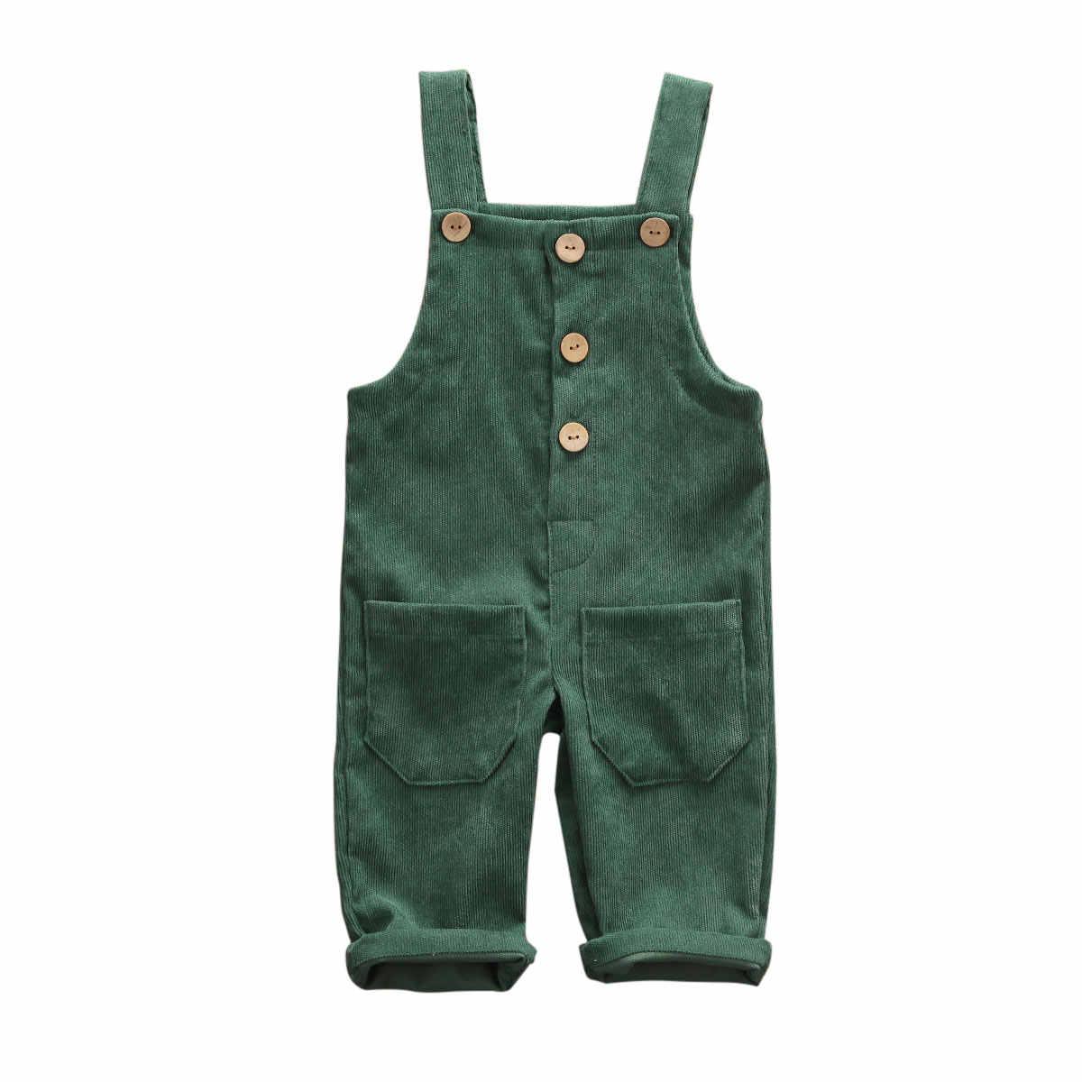 ยี่ห้อใหม่เด็ก Overalls เด็กวัยหัดเดินเด็กกางเกงกางเกง Casual Corduroy เด็ก Bib กางเกงกระเป๋าปุ่มจัดส่งฟรี