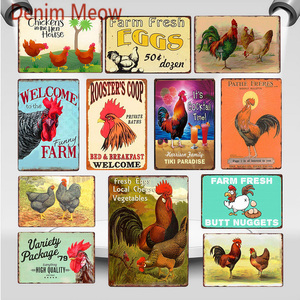Happy Chickens Lay More Eggs Metal Sign Rooster's Coop Shabby Chic Wall Art Plate Farmhouse Decoration Animal Wall Poster WY82