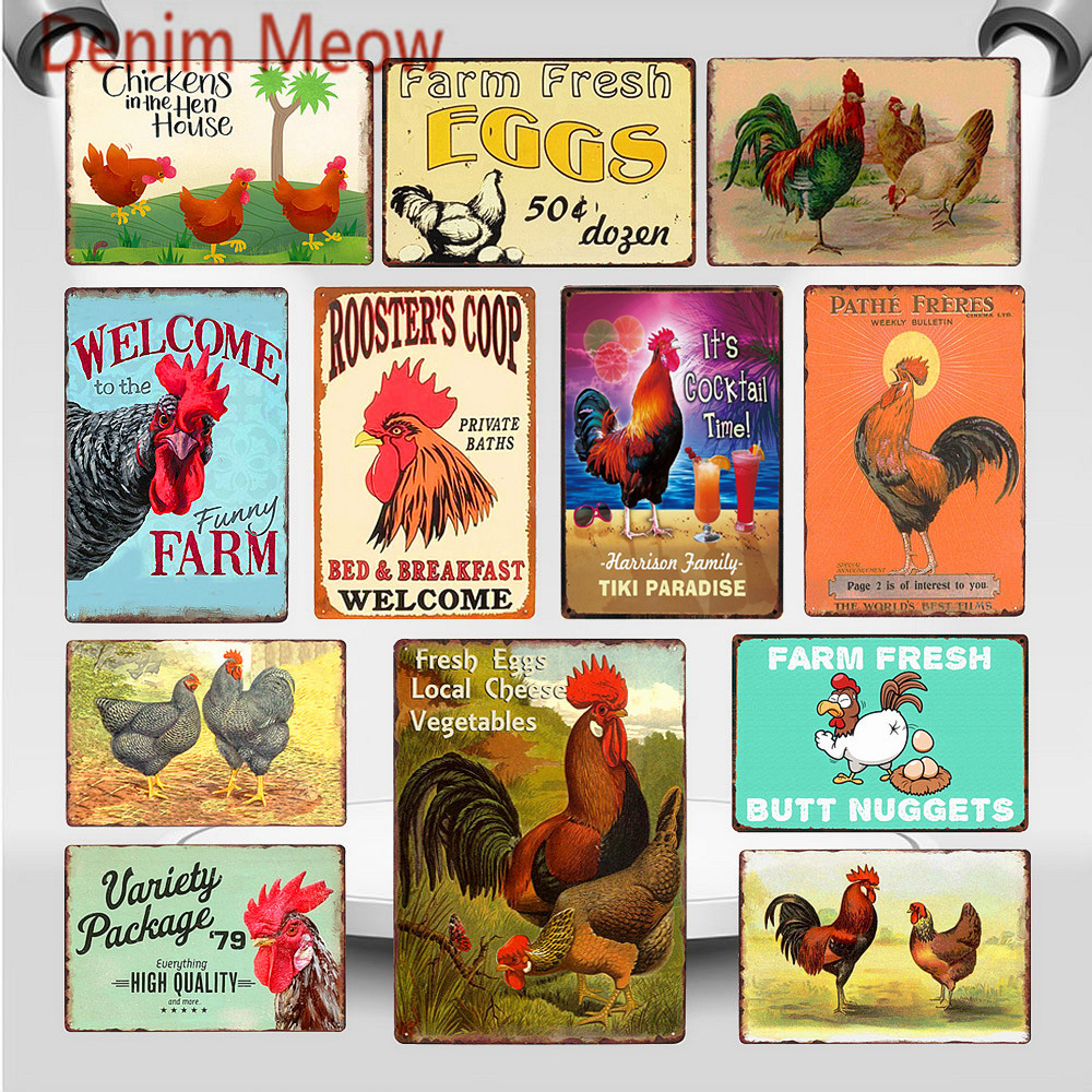 Happy Chickens Lay More Eggs Metal Sign Rooster's Coop Shabby Chic Wall Art Plate Farmhouse Decoration Animal Wall Poster WY82 image