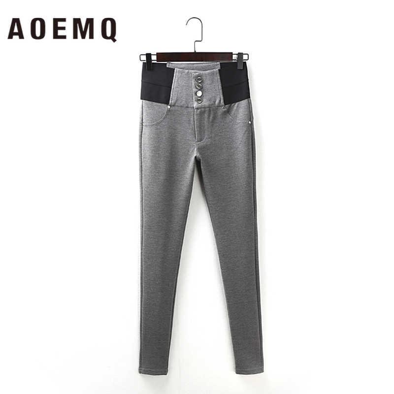 AOEMQ แฟชั่นผ้าฝ้ายนุ่มแบนกางเกง 2 สี Casual กีฬา PE Class สวมใส่ดินสอกางเกง Elastic FORCE Slim กางเกง