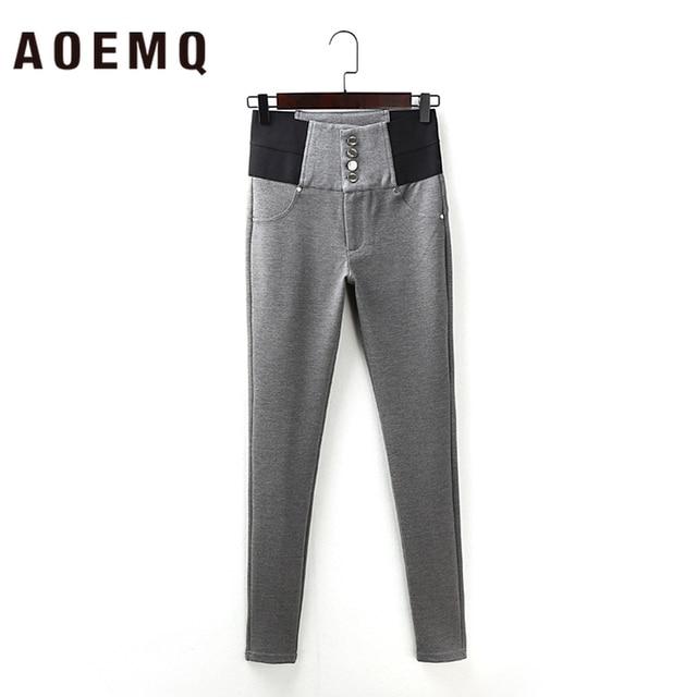 AOEMQ moda pamuk yumuşak düz pantolon 2 renkler rahat spor PE sınıf aşınma kalem pantolon pantolon elastik kuvvet ince pantolon
