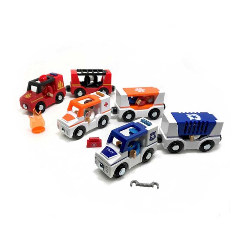 X137 Suara dan Cahaya Magnetik Mobil Kereta Mobil Ambulans Truk Pemadam Kebakaran Kompatibel Kayu Mengikuti Anak