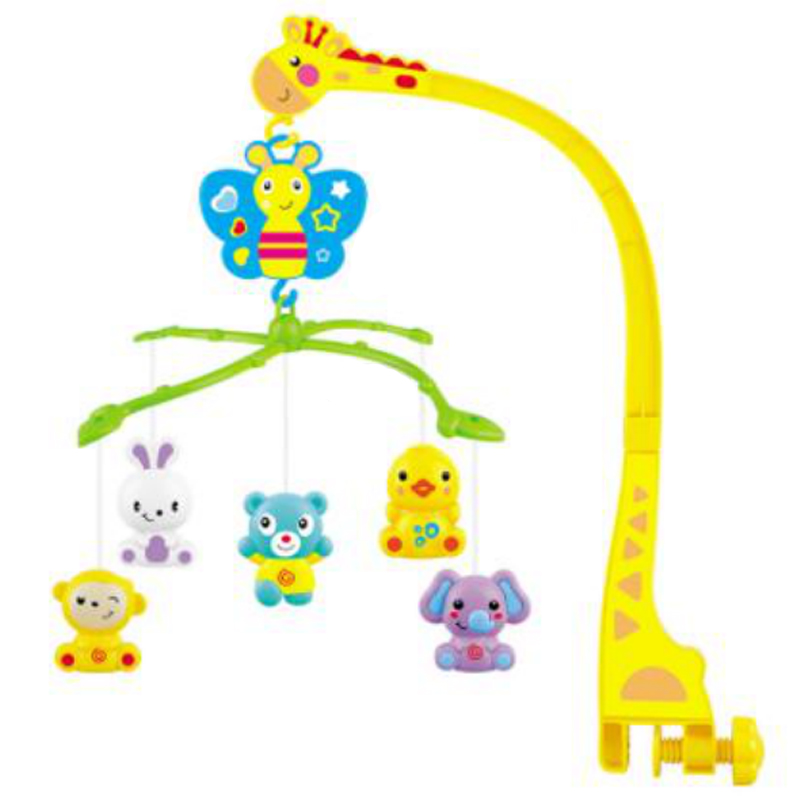4 In 1Musical Crib Mobile Bed Bell Animal Baby Rattle Rotating Bracket Toys Giraffe Holder Wind-Up Music Box Gift