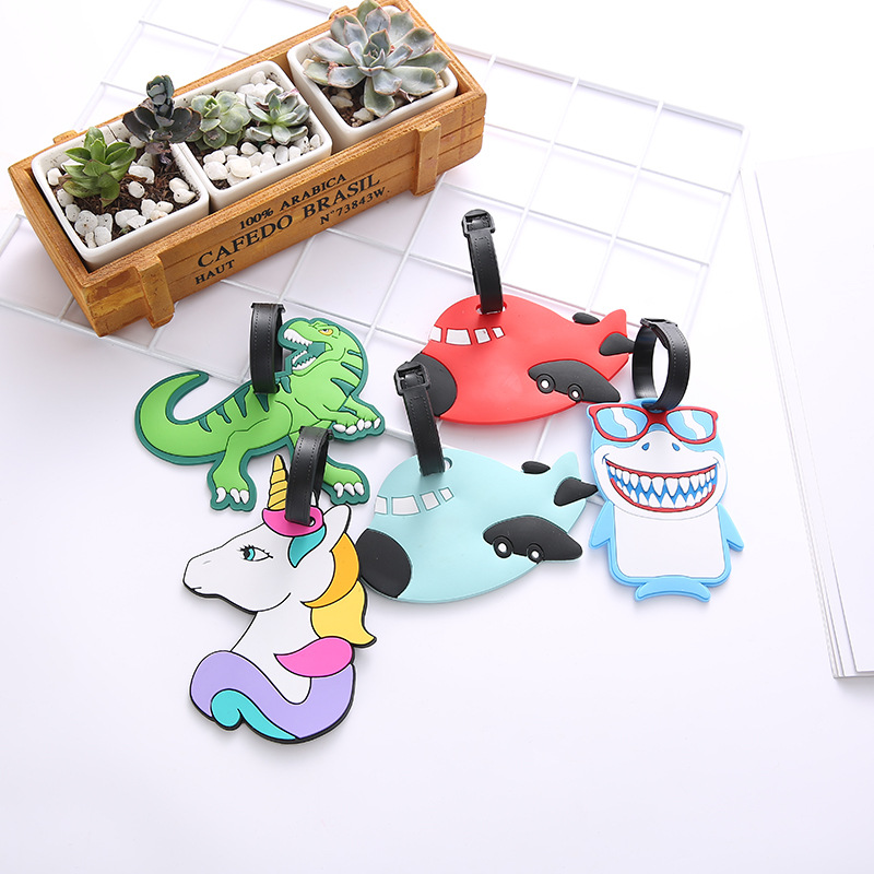 Cartoon Dinosaur Airplane Luggage Tags Suitcase ID Address Silica Gel Holder Baggage Boarding Portable Label Travel Accessories