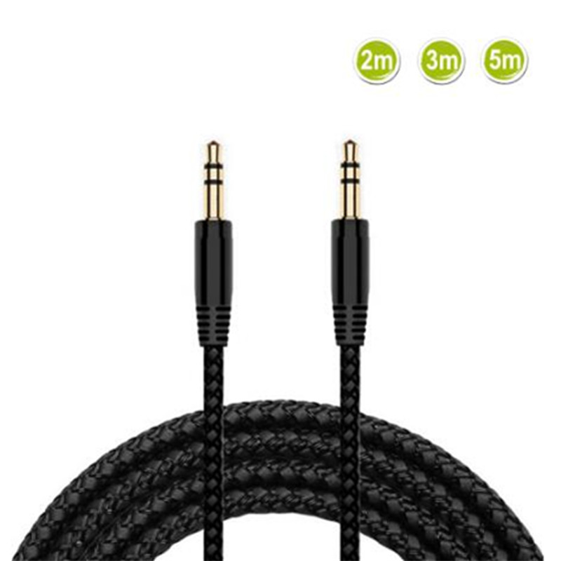 3.5 mm 2/3/5m Nylon Braid Headphone Extension Cable 3.5mm Male to Male AUX Cable M/M Audio Stereo Extender Cord Earphone Cable image