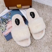 Fur Shoes Womens Slippers Indoor Flat Warm Furry Slippers Outside Girls Plush Sandals Women Slides Flip Flops Floor Flat Shoes