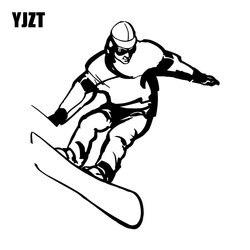 YJZT 15CM * 16.5CM Snowboard skok Sport ekstremalny winylowa tablica naścienna naklejki samochodowe śmieszne Cartoon czarny/srebrny C31 0170 Naklejki samochodowe    -