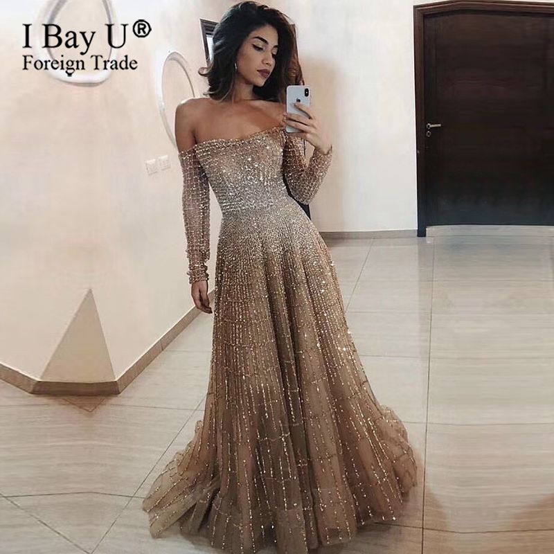 Luxury Sparkle Full Beading Evening Dresses 2020 Pink Dubai Gold Off Shoulder Long Sleeve Formal Evening Gowns Plus Size