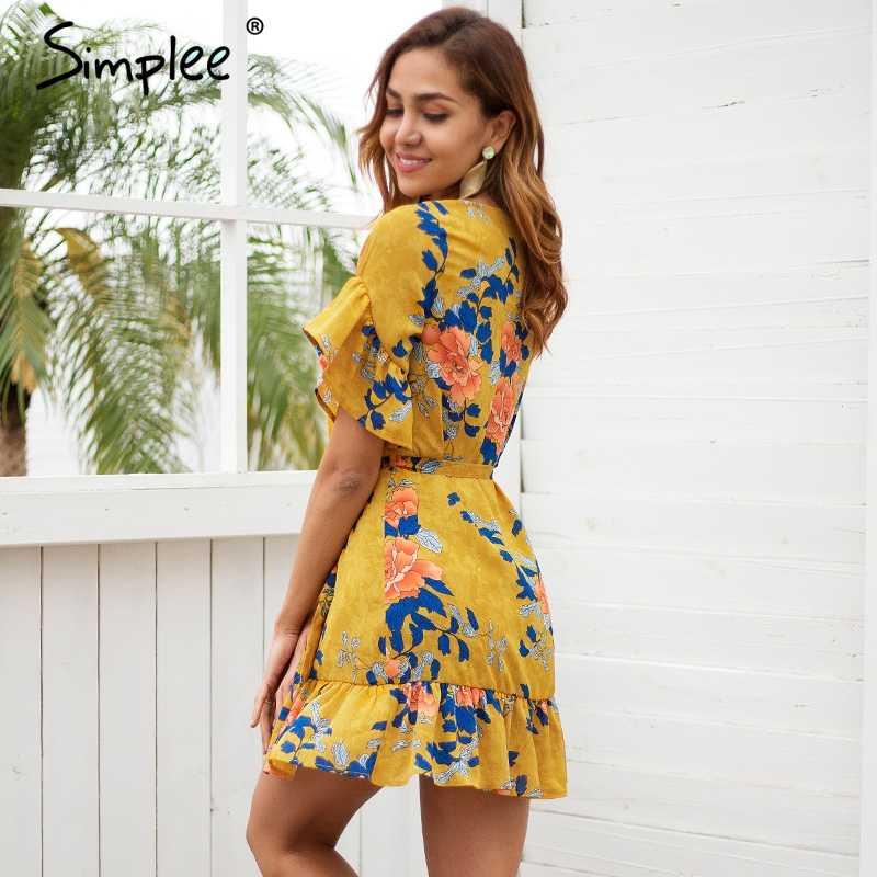 Женское короткое платье Simplee с оборками, и цветочным принтом, пляжное повседневное платье на весну-лето в стиле бохо с коротким рукавом
