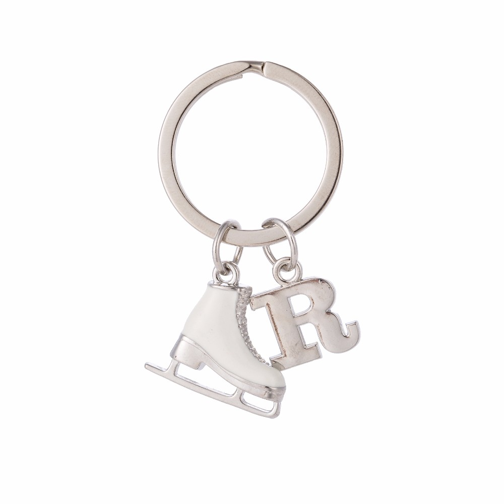 Fishhook Letter Pendants 26 Alphabet Initial Keychain White Enamel 3D Ice Skate Figure Skating Gift Key Holder Keychain