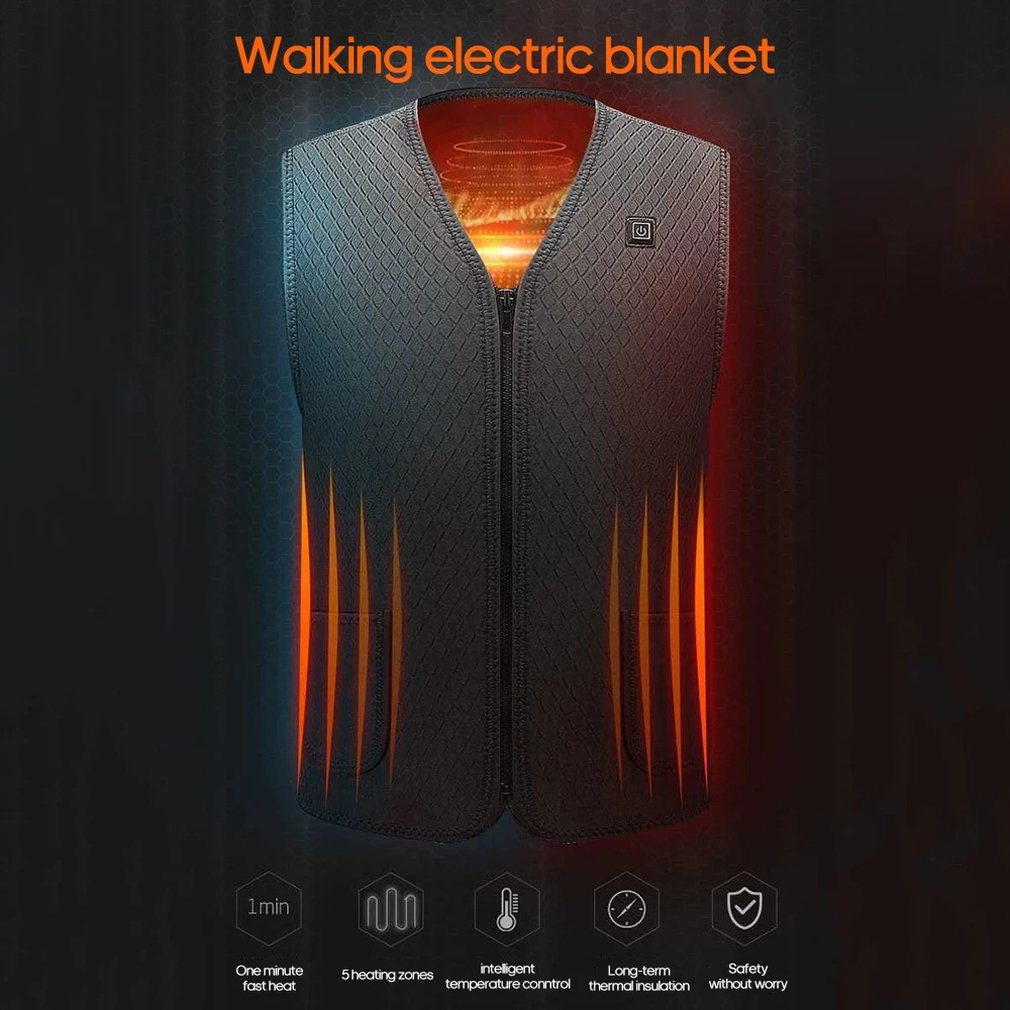 Warm Heated Jacket Heating Vest Hiking Clothing USB Charging Intelligent Electric Heated Vest Heating Clothes Submersible