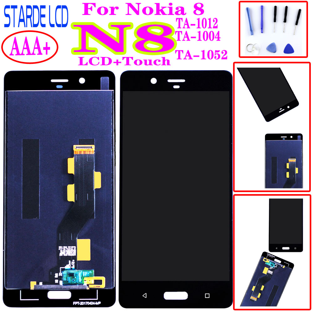AAA+ For <font><b>Nokia</b></font> 8 N8 <font><b>TA</b></font>-1012 <font><b>TA</b></font>-<font><b>1004</b></font> <font><b>TA</b></font>-1052 Full LCD DIsplay Touch Screen Digitizer Assembly Touchscreen Replacement image