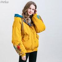 ARTKA 2019 New Women Winter Jacket Vintage Embroidery Short Thicken Warm Coat Oversize Lantern Sleeve Hooded Outwear MA15092D