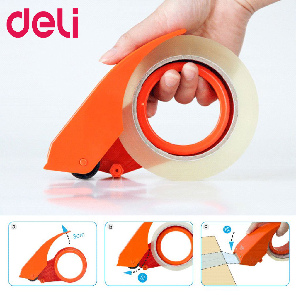 Deli 801 Tape Dispenser 48mm Width Packaging Cutting Machine Manual Sealing Device Tape Cutter Carton Sealer Tape Drop Shipping