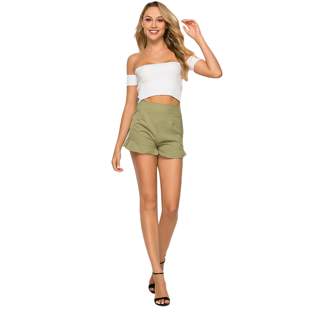 Summer Women Baech Shorts Ruffled High Waist Short Female Sexy Loose Wide Leg Short Femme Elastic Waist Belt Beach Shorts 2