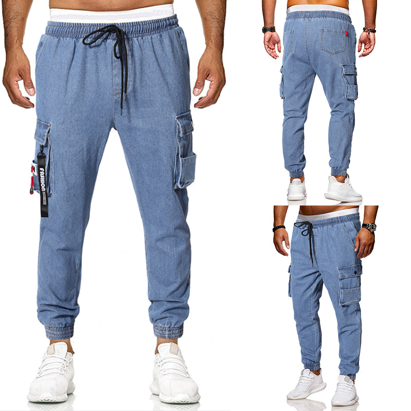Autumn And Winter Europe And America Men's Cowboy Cargo Trousers Cowboy Blue Multi-pockets Casual Workwear Ankle Banded Pants