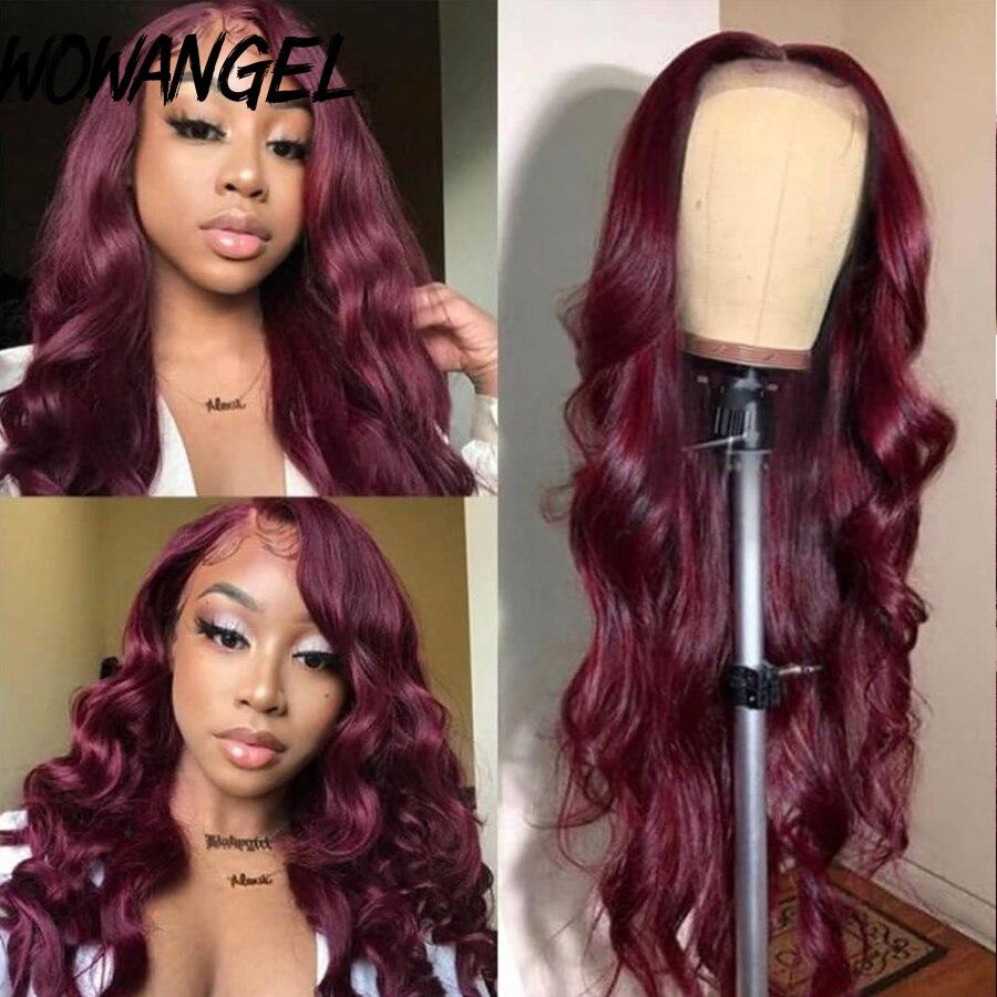 Laço transparente 13x6 frente do laço perucas de cabelo humano onda do corpo colorido vermelho borgonha 99j pré arrancado razilian remy cabelo wowangel