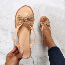 Women Summer Slippers Sandals Flip-Flops Crystal Flat Beautiful Female Cute with Bow