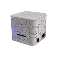 Altavoz pequeño portátil con luz LED y grietas de colores, caja de sonido, cubo, compatible con tarjeta TF, reproductor de MP3, reproductor de mp3 Extroverted