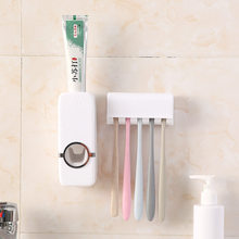 Bathroom Accessories Set Tooth Brush Dispenser Holder Holder Tools Set Automatic Bathroom Wall Mount Toothbrush Toothpaste Rack(China)