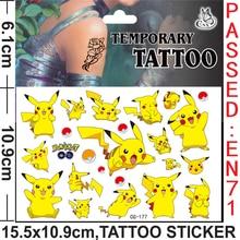 Novo original pokemon tatuagem adesivos dos desenhos animados à prova dwaterproof água bonito pikachu figura de ação adesivos natal aniversário enviado aleatoriamente