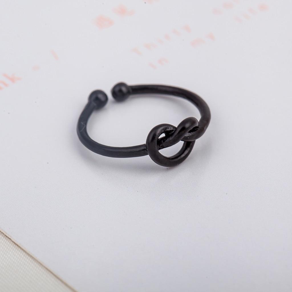 Регулируемые Кольца в форме сердца, минималистичное простое открытое регулируемое кольцо с узлом, характерное серебряное женское ювелирно...