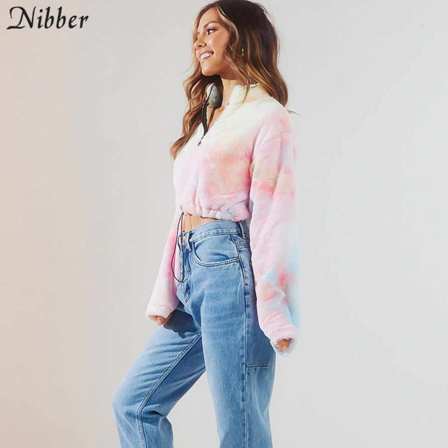 Nibber herbst mode Bunte Harajuku Pullover frauen 2019 herbst winter hairy Enge crop tops Eleganten straße casual Pullover mujer