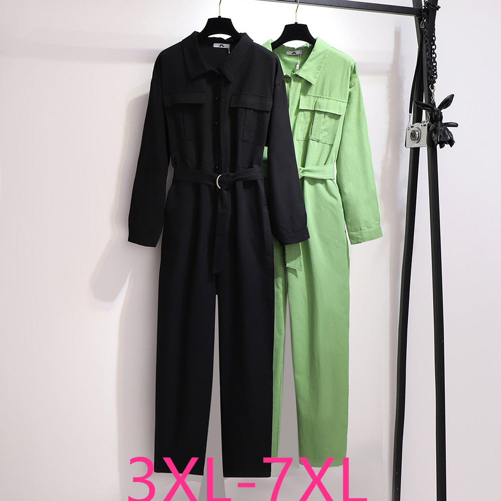 2020 spring autumn plus size jumpsuits for women large long sleeves loose casual jump suit belt black green 3XL 4XL 5XL 6XL 7XL