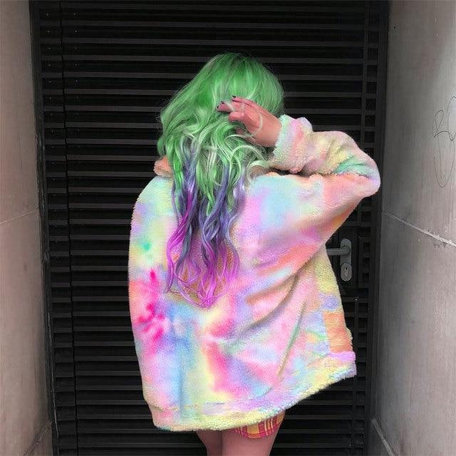 SUCHCUTE Regenbogen Jacken Für Frauen Mit Zipper Modis frauen Park Longslive Casual Winter Mantel 2019 Casual Koreanische Art Festival