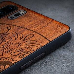 Image 2 - Rzeźbiona czaszka słoń drewno etui na telefony dla Huawei P30 Pro P30 Lite Huawei P20 P20 Pro P20 Lite krzemu drewniane skrzynki pokrywa
