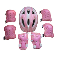 어린이 7 조각 사이클링 롤러 스케이트 보호 장비 세트-58-62 cm 안전 헬멧 + 무릎 및 팔꿈치 패드 + 손목 보호대