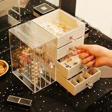 Schublade Typ Kunststoff Storagebox Transparent Finishing Kosmetische Storagebox Schmuck Ohrring Display Rack Regal Halskette Braceletbox