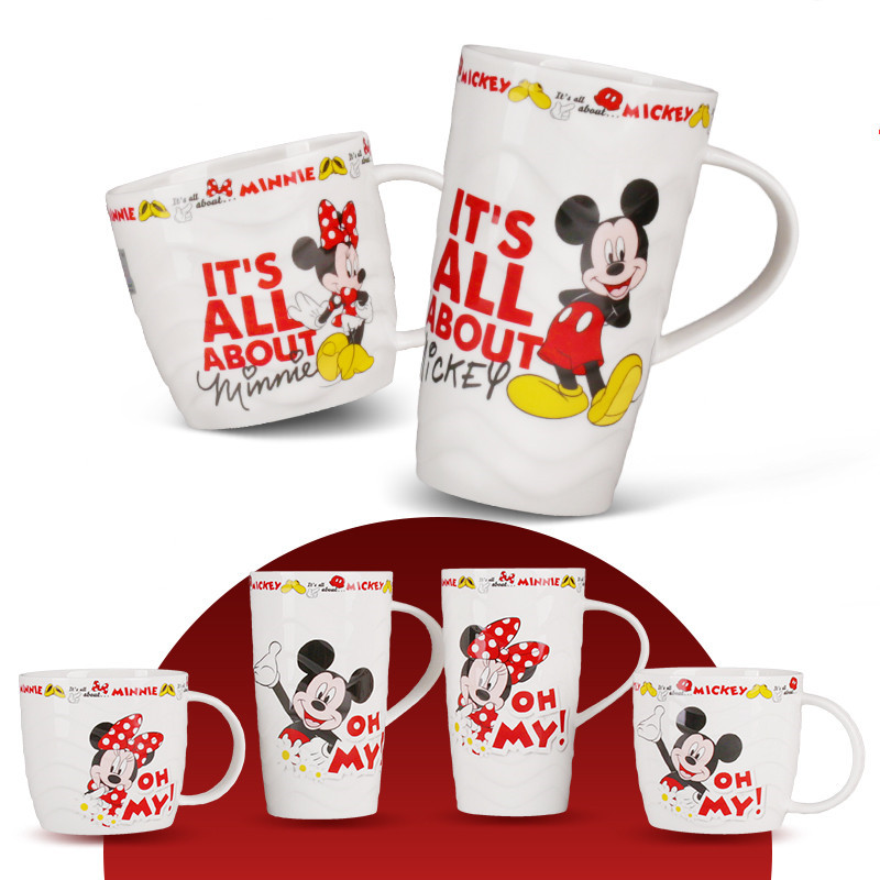375ml 260ml Disney Mickey Minnie Mouse Ceramic Cup Milk Coffee Water Mug Home Office Collection Cup Women Girl Festival Gifts